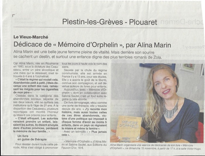 article alina Ouest-France 10 novembre site